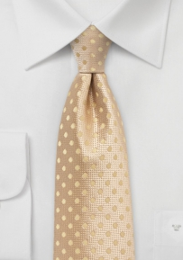 Golden Straw Colored Tie with Dots