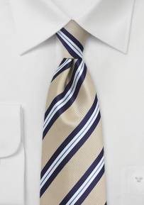 Golden Tan and Navy Striped XL Tie