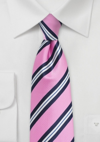 Bright Pink, Blue, and White Tie for Boys