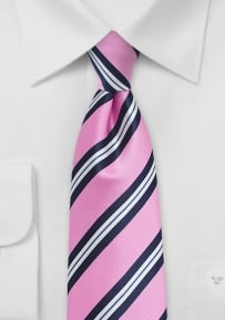 Bright Pink and Blue Striped XL Sized Mens Tie