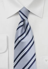 XL Striped Tie in Silver, Navy, and White