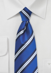 Extra Long Tie in Horizon Blue with Stripes