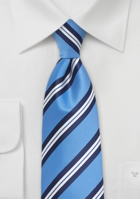 Men's Repp Striped Summer Tie in Blue