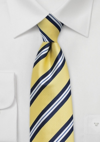 Repp Striped Extra Long Tie in Yellow