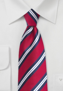 Preppy Striped Boys Tie in Red, White, Navy