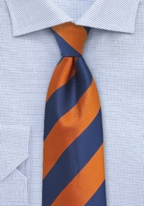 Boys Tie with Textured Stripes in Navy and Orange