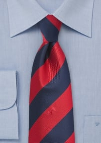 Red and Navy Repp Stripe Tie in XL Length