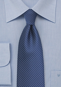 Pencil Stripe Design Tie in Dark Blue for Kids