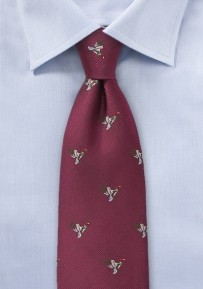 Burgundy Woven Silk Tie with Ducks