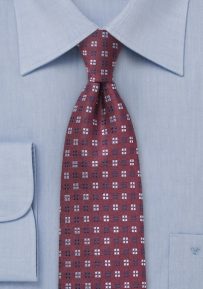 Oxblood and Blue Silk Tie
