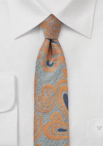 Slim Paisley Wool Tie in Gray and Orange