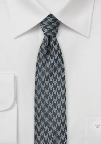 Dark Gray Skinny Tie with Houndstooth Design