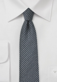 Skinny Charcoal Tie with Basketweave Check