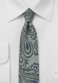 Slim Paisley Woven Wool Tie in Grey