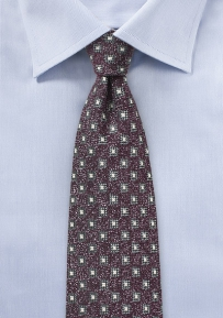 Geo Weave Wool Tie in Burgundy