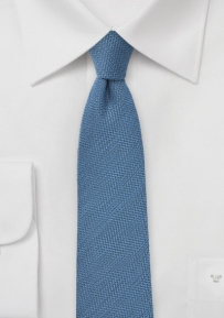 Blue Skinny Wool Tie with Micro Herringbone
