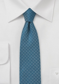 Teal and Silver Skinny Wool Tie