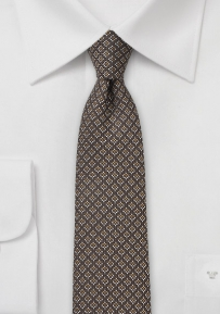 Chocolate Brown Woven Silk and Wool Tie