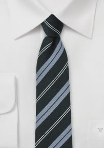 Skinny Wool Tie in Black and Gray