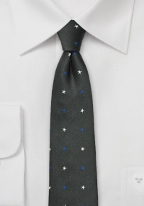 Trendy Black Skinny Tie with Woven Stars