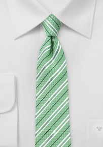 Skinny Summer Striped Tie in Kelly