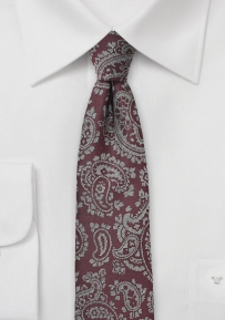Slim Cut Tie in Deep Burgundy