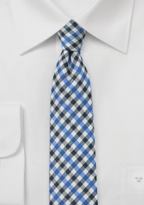 Autumn Skinny Gingham Tie in Blue
