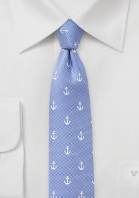 Anchor Design Skinny Tie in Baby Blue
