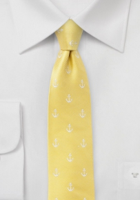 Sailing Anchor Skinny Tie in Yellow