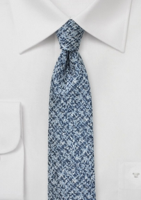 Silver and Blue Tweed Textured Tie