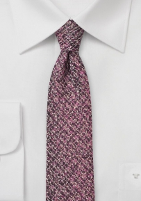 Trendy Skinny Tweed Tie in Cordovan Red