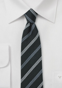 Trendy Skinny Winter Tie in Black and Gray