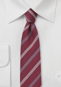 Red Wool Skinny Tie with Gray Stripes