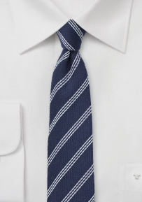 Silk and Wool Striped Tie in Blue