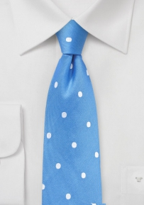 Silk Polka Dot Tie in Marina Blue