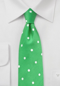 Kelly Green Polka Dot Silk Tie
