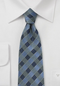 Gingham Silk Tie in Indigo