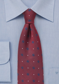 Deep Red Silk Tie with Navy Florals