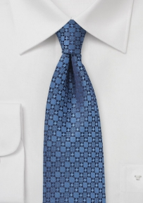 Graphic Check Tie in Indigo