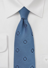 Abstract Weave Silk Tie in Indigo