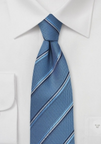 Indigo Blue Colored Tie with Stripes