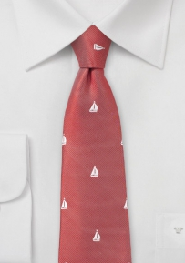Preppy Skinny Sailboat Tie in Red