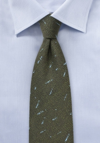 Dark Olive Green Tie with Herringbone Weave