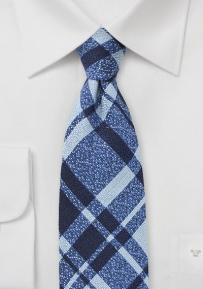 Textured Wool Designer Plaid Tie in Blue