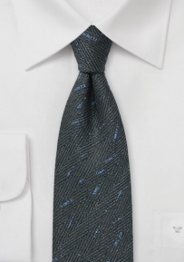 Herringbone Tweed Tie in Charcoal