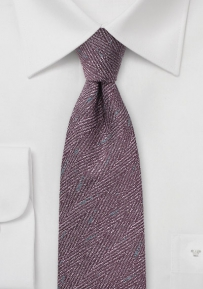 Wool Herringbone Tie in Grape Purple