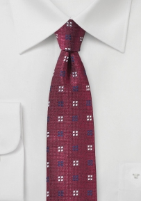 Slim Cut Geometric Design Mens Tie