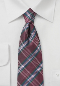 Tartan Plaid Necktie in Dark Green and Burgundy