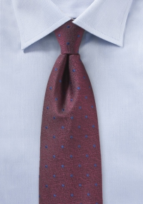 Port Red Textured Tie with Royal Navy Polka Dots