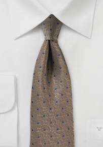 Bronze and Royal Polka Dot Necktie